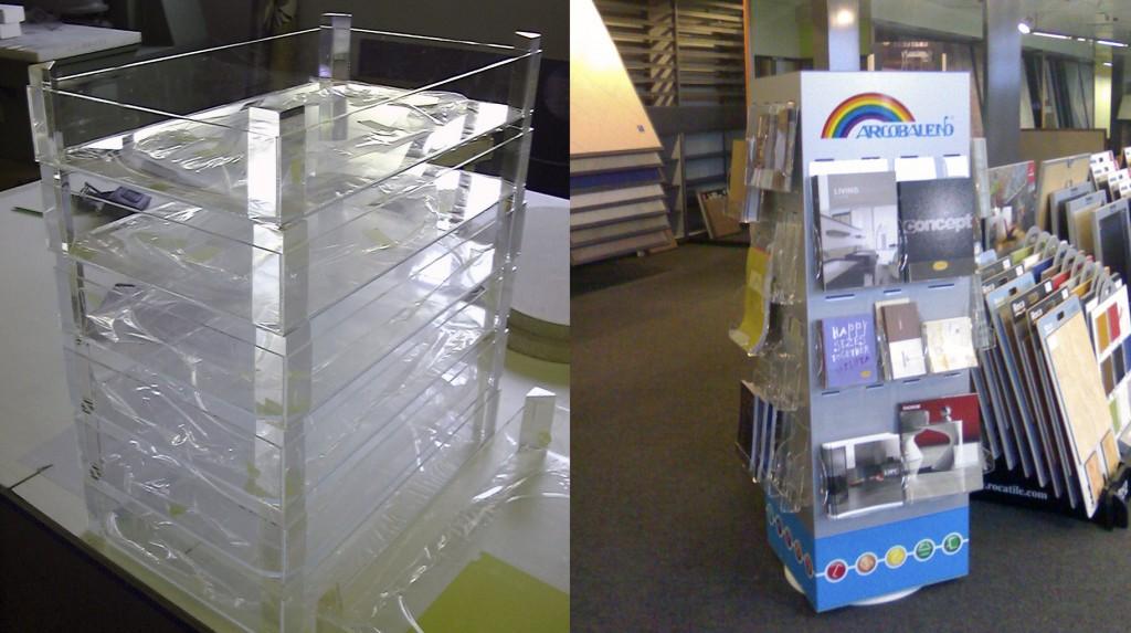 Espositori e Materiali P.O.P. - Cassetta per frutta in plexiglas trasparente - Espositore girevole in dibond (alluminio accoppiato a polietilene) tasche porta depliant in plexiglas trasparente