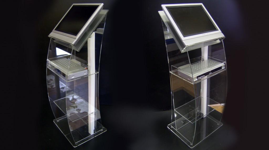 Espositori e Materiali P.O.P. - mobile in plexiglas trasparente porta monitor e lettore dvd