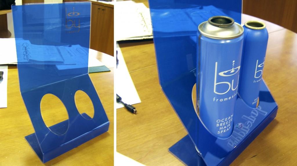 """Espositori e Materiali P.O.P. - Espositore da Banco """"Framesi"""" in plexiglas trasparente serigrafato blu."""